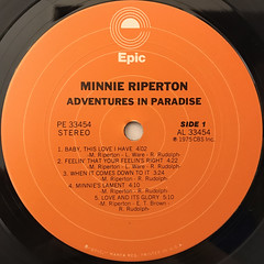 MINNIE RIPERTON:ADVENTURES IN PARADISE(LABEL SIDE-A)