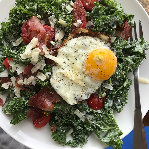 Kale Caesar, with an egg.