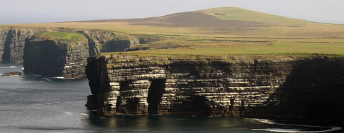 Textured rocky cliffs in Loop Head, Ireland