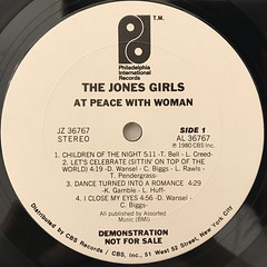 THE JONES GIRLS:AT PEACE WITH WOMAN(LABEL SIDE-A)