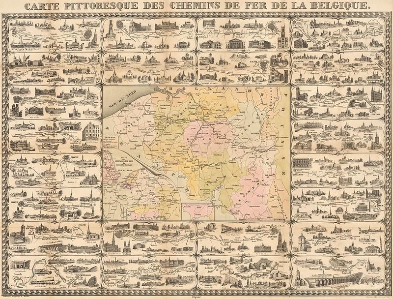 Etablissement Géographique (Bruxelles) - Carte Pittoresque Des Chemins De Fer De La Belgique (c.1855)