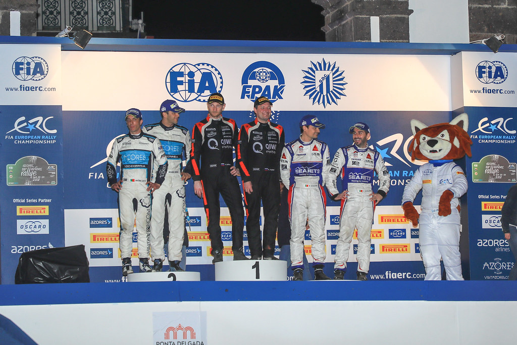 02 LUKYANUK Alexey (rus), ARNAUTOV Alexey (rus), RUSSIAN PERFORMANCE podium during the 2018 European Rally Championship ERC Azores rally,  from March 22 to 24, at Ponta Delgada Portugal - Photo Jorge Cunha / DPPI