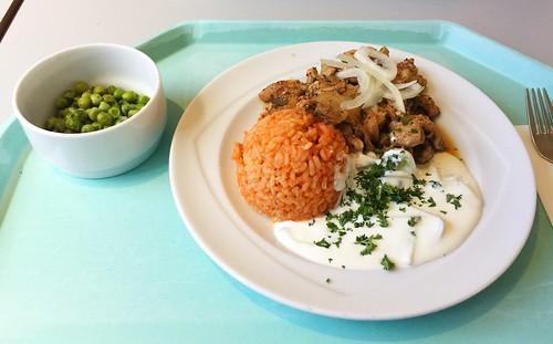 Pork gyros with tzatziki, fresh onions & tomato rice / Gyros vom Schwein mit Tzaziki, frischen Zwiebeln & Tomatenreis
