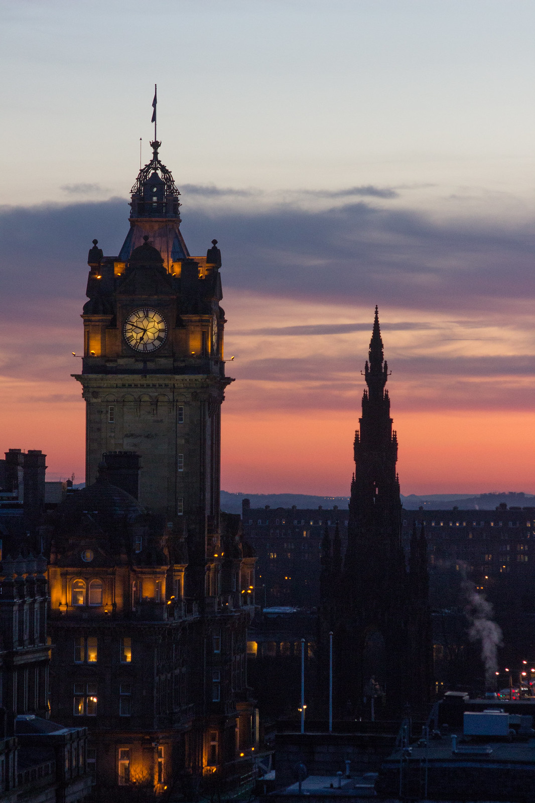 Sunset sky behind The Balmoral, Edinburgh, taken from Calton Hill