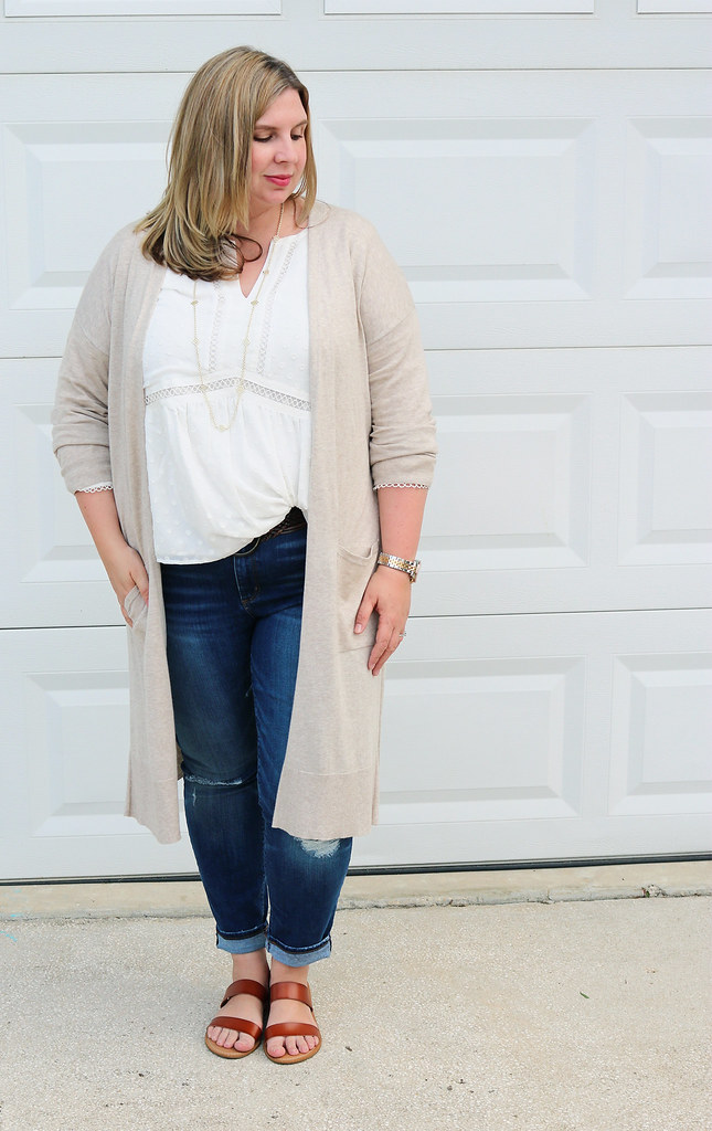 white peasant top, long tan cardigan, distressed jeans, double strap sandals 7