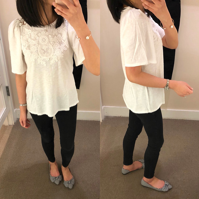 LOFT Floral Lace Swing Tee, size XS regular
