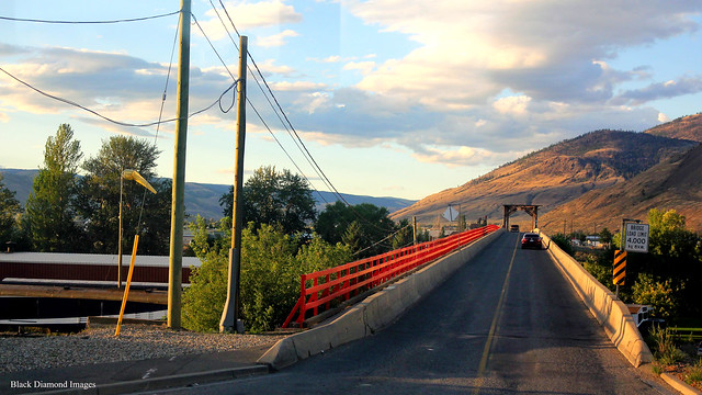 The Red Bridge & the Rocky Mountaineer at Kamloops Railway Station, British Columbia, Canada