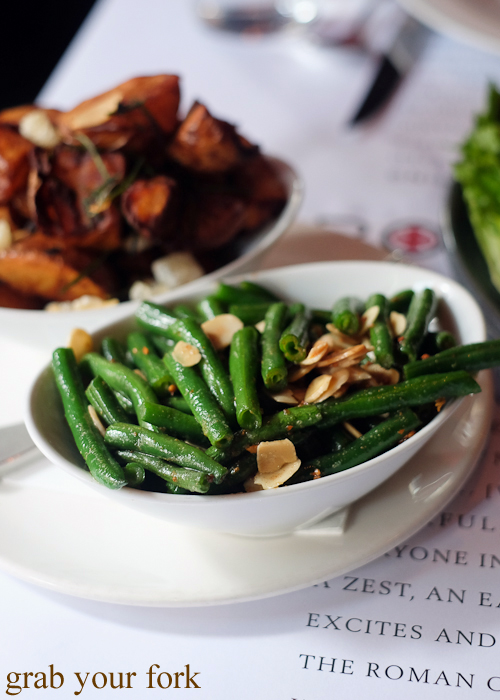 Green beans with burnt butter and toasted almonds at La Rosa The Strand in Sydney