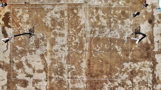 Basketball court from upsidedown