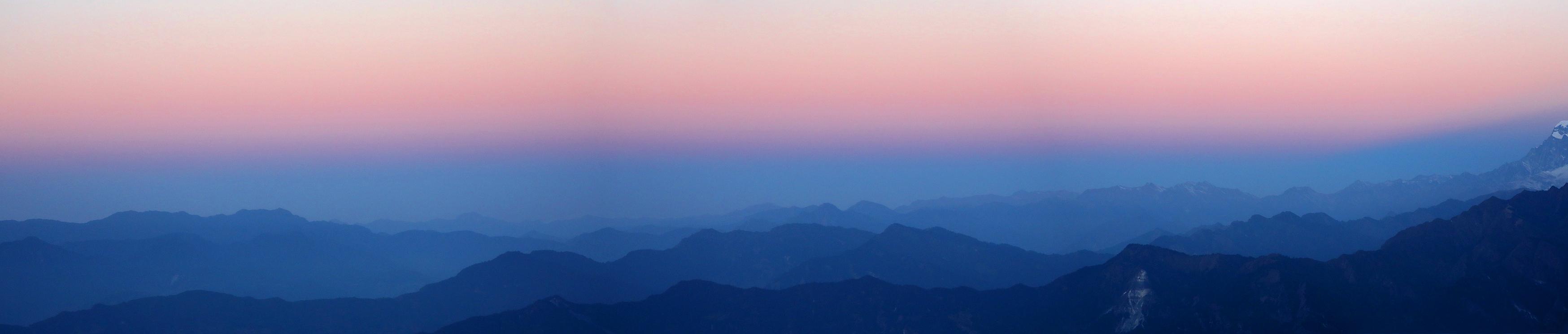 Панорама_рассвет в Гималаях75
