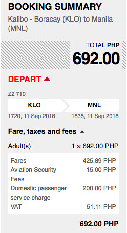 Kalibo to Manila AirAsia Promo September 11, 2018