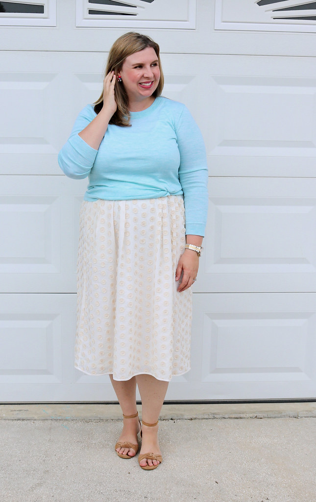 cream dot midi skirt, mint tippi 6