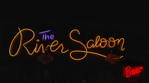 Neon Sign - The River Saloon at Combs BBQ Central - Middletown, Ohio