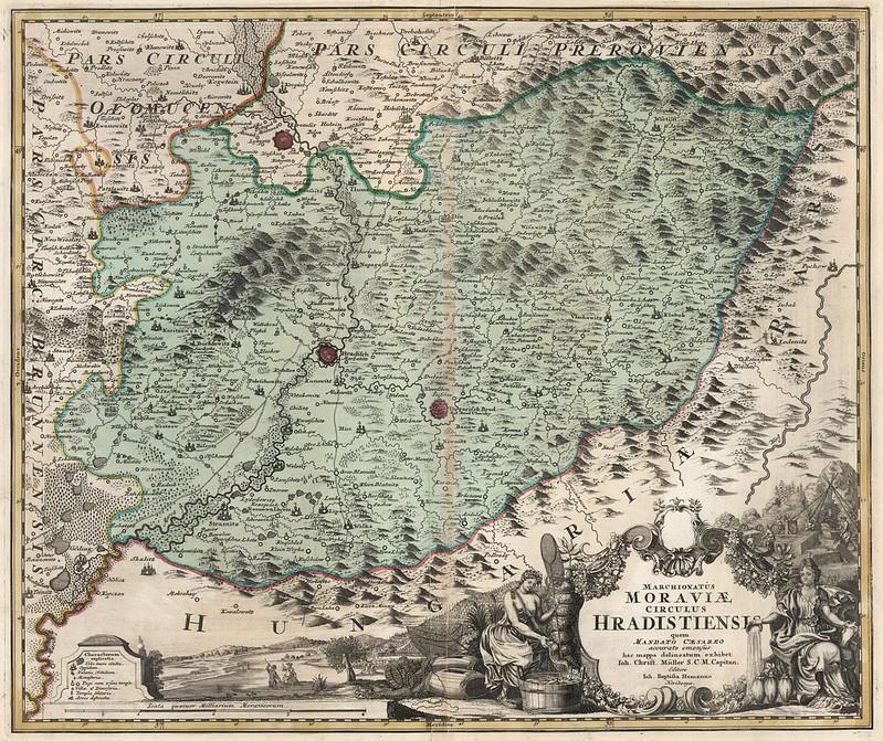 Johann Baptist Homann - Marchionatus Moraviae Circulus Hradistiens (1716)