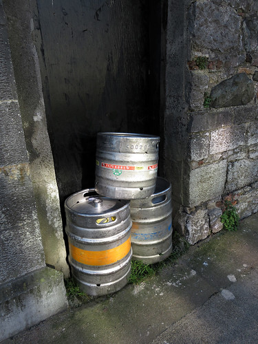 Beer kegs on the sidewalk in Galway, Ireland