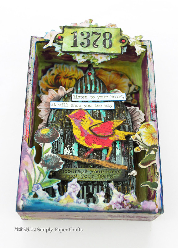 Meihsia Liu Simply Paper Crafts Mixed Media Box Bird Cage Fly Simon Says Stamp Tim Holtz 1