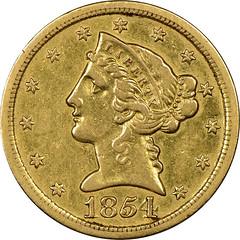 1854-S Half Eagle obverse