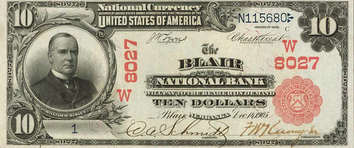 Blair Nebraska $10 National Bank Note front