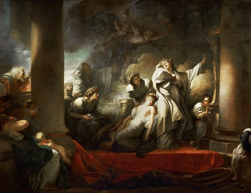 Jean-Honore Fragonard - Coresus Sacrificing Himself to Save Callirhoe (1765)