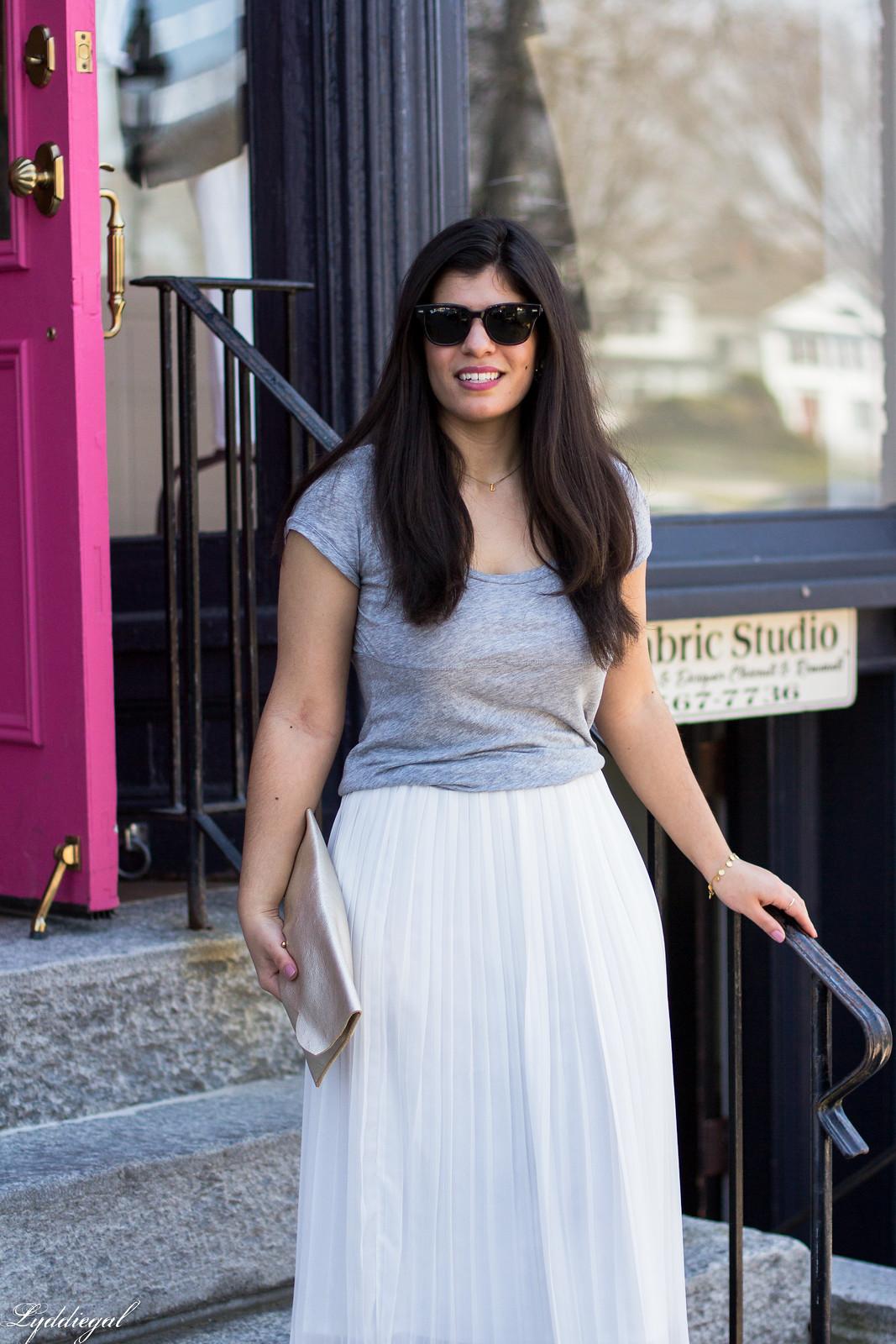 white pleated midi skirt, grey tee, nude heels, scalloped clutch-1.jpg