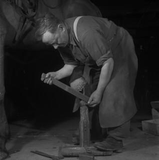 Harper Rennick putting a horseshoe on a horse, Shawville, Quebec / Harper Rennick plaçant un fer sur un cheval, Shawville (Québec)