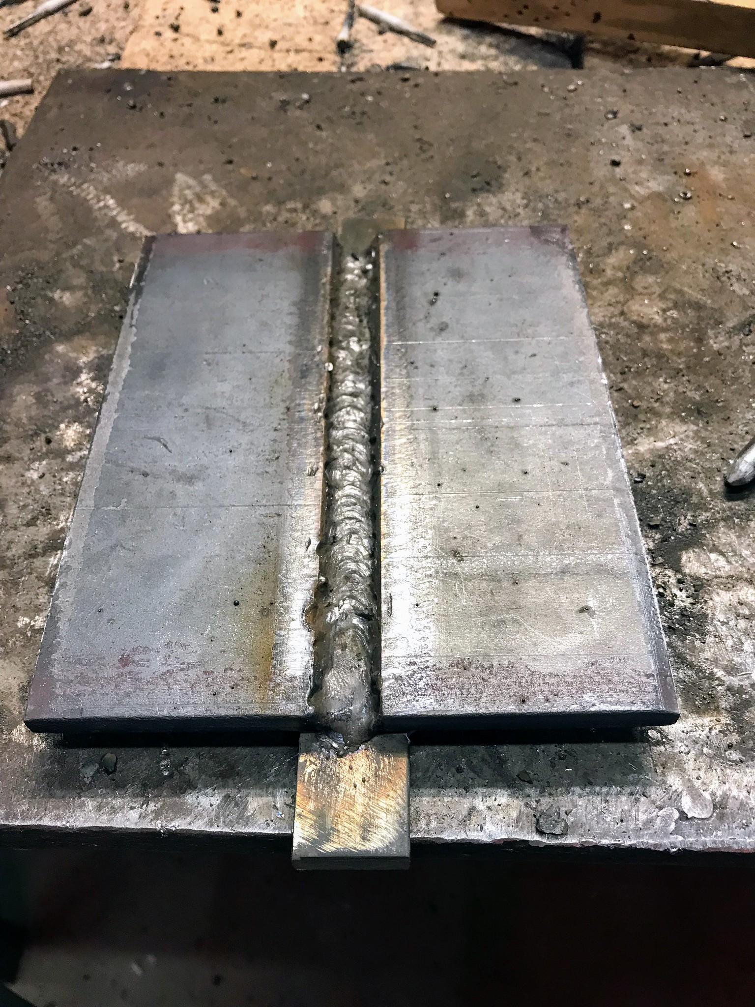 Test plate with root weld