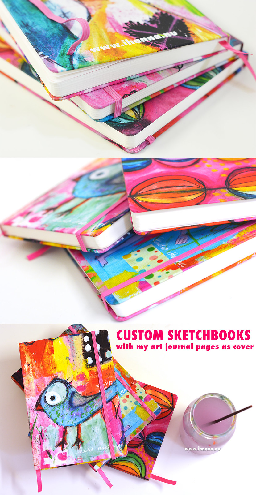 Custom Sketchbooks with cover from iHanna's Art Journal Pages