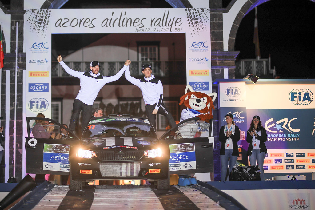 11 INGRAM Chris (gbr), WHITTOCK Ross (gbr) , TOKSPORT WRT, SKODA FABIA R5, podium Under 28 during the 2018 European Rally Championship ERC Azores rally,  from March 22 to 24, at Ponta Delgada Portugal - Photo Jorge Cunha / DPPI