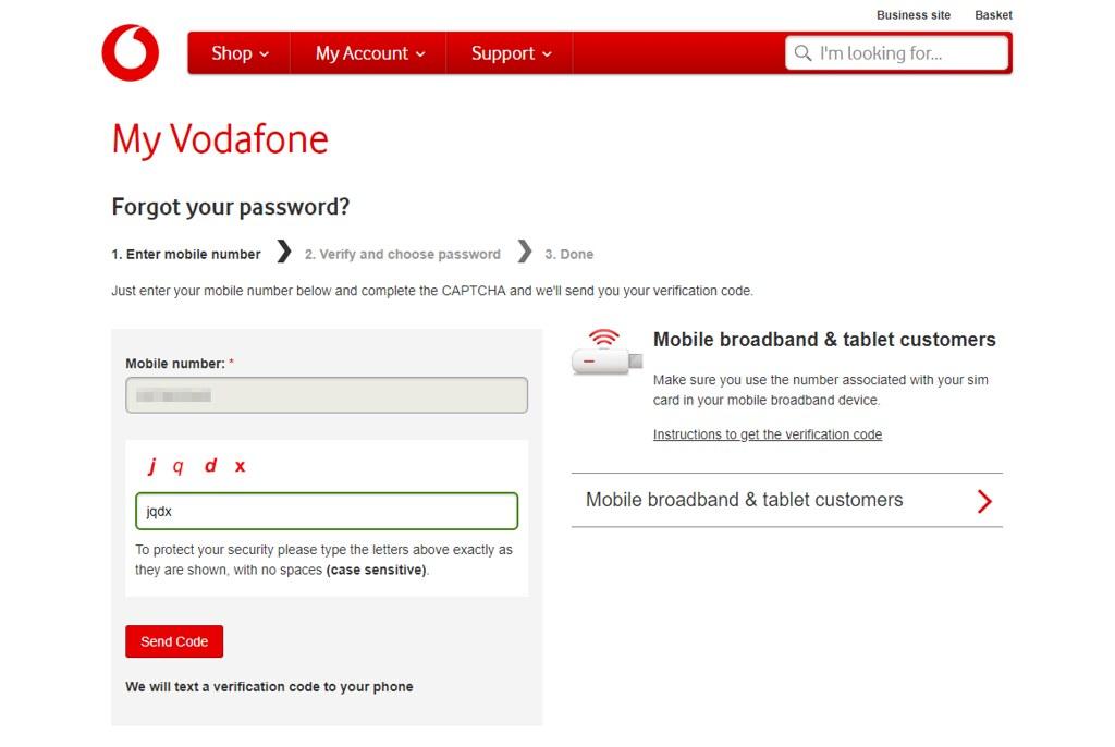 Vodafoneセットアップ画面3