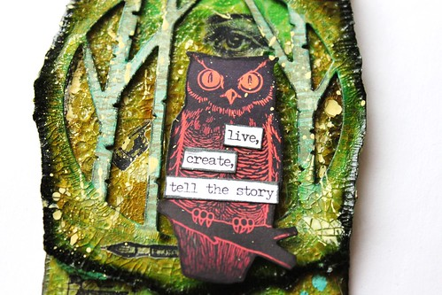 Meihsia Liu Simply Paper Crafts Mixed Media Tag Aesops Fable Owl Birds Simon Says Stamp Tim Holtz 3