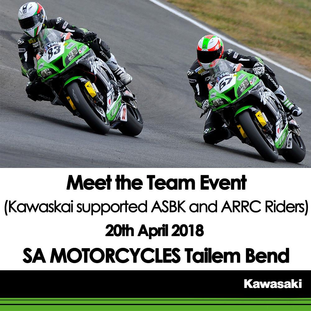 Meet Kawasaki Supported Riders at SA Motorcycles Tailem Bend – 20th April