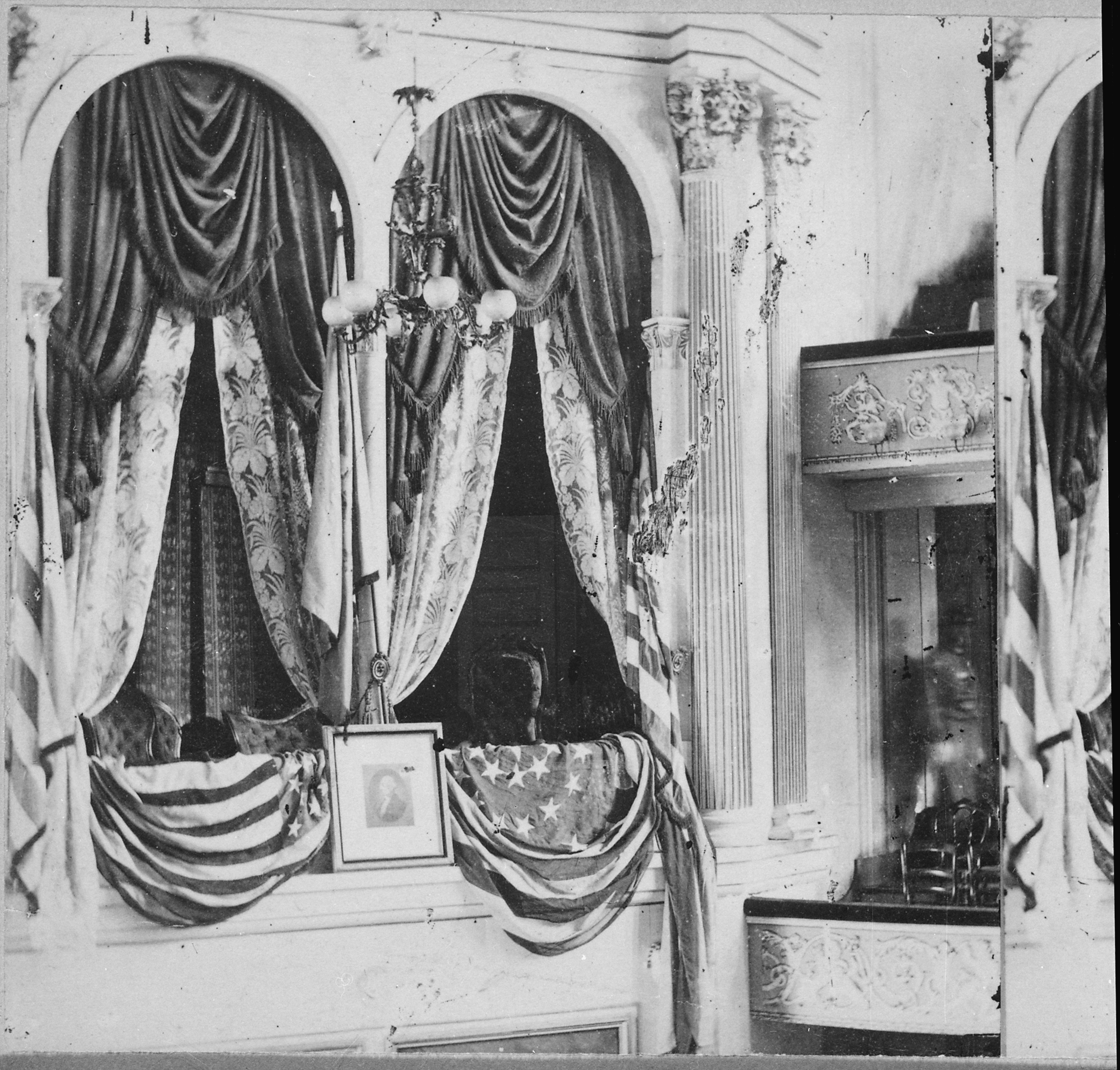 The private box at Ford's Theatre, Washington, D.C., in which Abraham Lincoln was assassinated by John Wilkes Booth on April 14, 1865. Photo taken circa 1865.