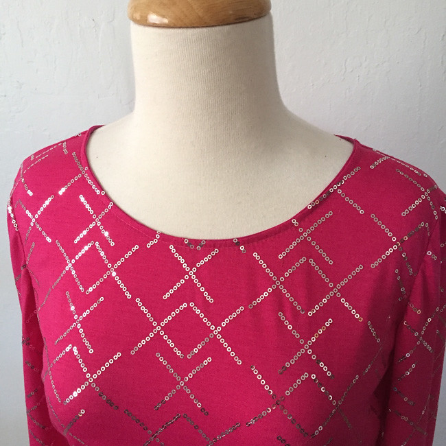 pink sequin top neckline