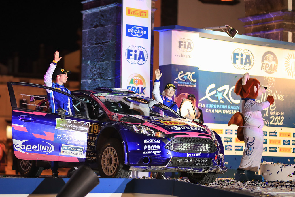 19 MOLINARO Tamara (ita), WYDAEGHE Martijn (bel), FORD FIESTA R5, podium during the 2018 European Rally Championship ERC Azores rally,  from March 22 to 24, at Ponta Delgada Portugal - Photo Jorge Cunha / DPPI