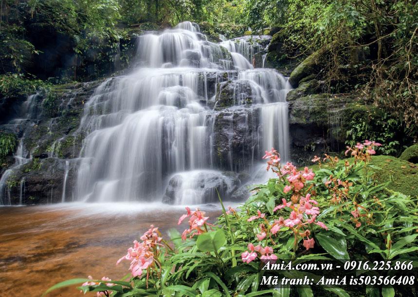 Tranh thác nước đẹp bên đồi hoa