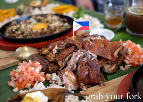 Crispy pata deep fried pork trotter for our boodle fight at Sizzling Fillo in Lidcombe Sydney