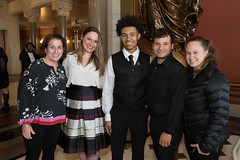 From left – Karen Senich, executive dir. of the Boys and Girls Club of Greater Waterbury, Rep. Stephanie Cummings, Youth of the Year Tyrese Gallant, and Club employees Manny Matias and Alyssa Giordano during the 2018 State Youth of the Year Awards dinner at the State Capitol.