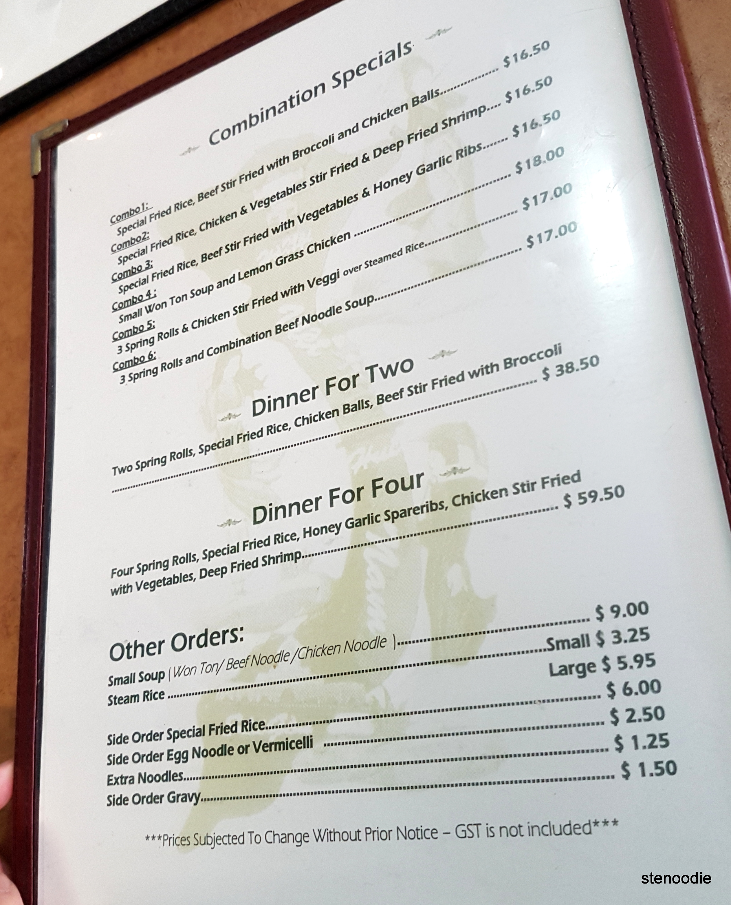 Vietnamese Noodle House menu and prices