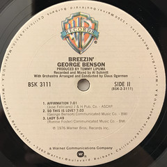 GEORGE BENSON:BREEZIN'(LABEL SIDE-B)