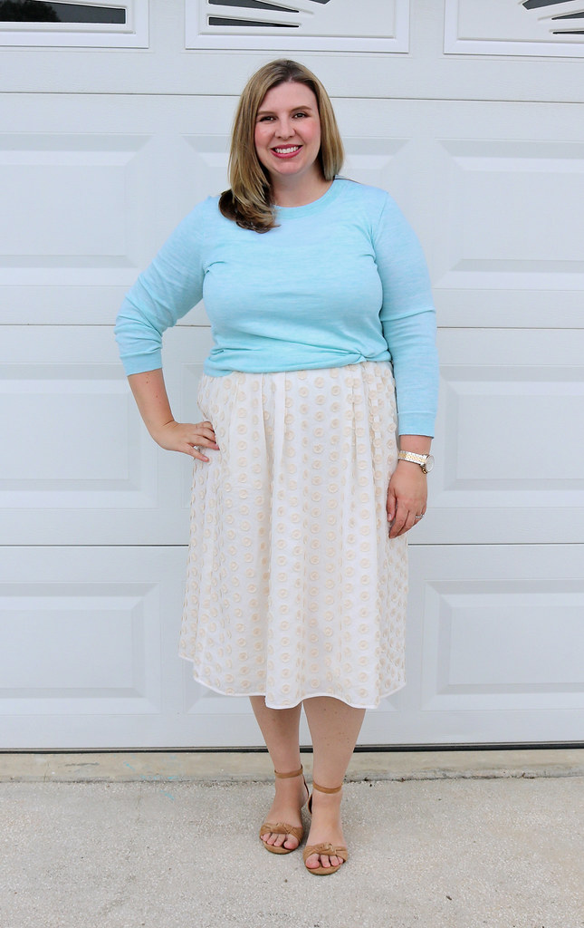 cream dot midi skirt, mint tippi 5