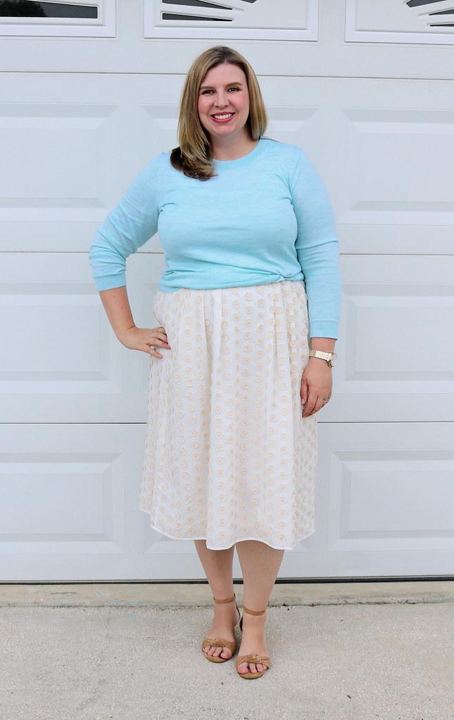 cream dot midi skirt, mint tippi 5