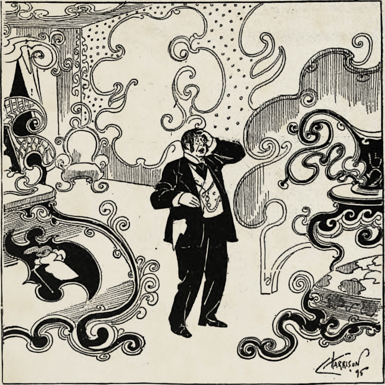 """""""The curly craze."""" From Judge's Library, 1896."""