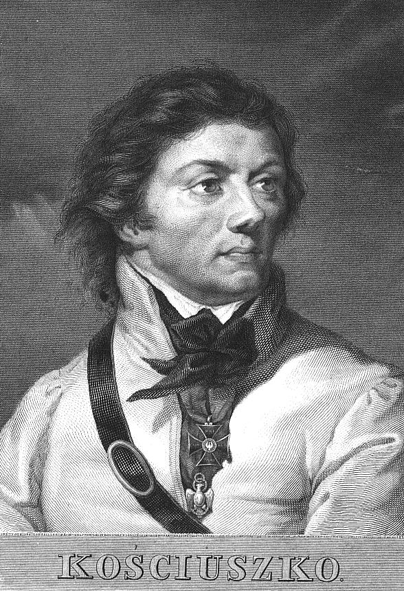 Tadeusz Kościuszko wearing the Virtuti Militari and, below it, the Eagle of the Cincinnat.