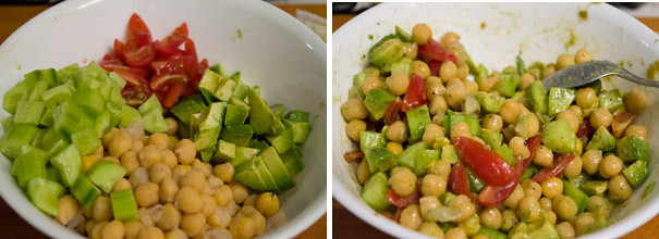 Chickpea Avocado Salad cooking steps by GoSpicy.net
