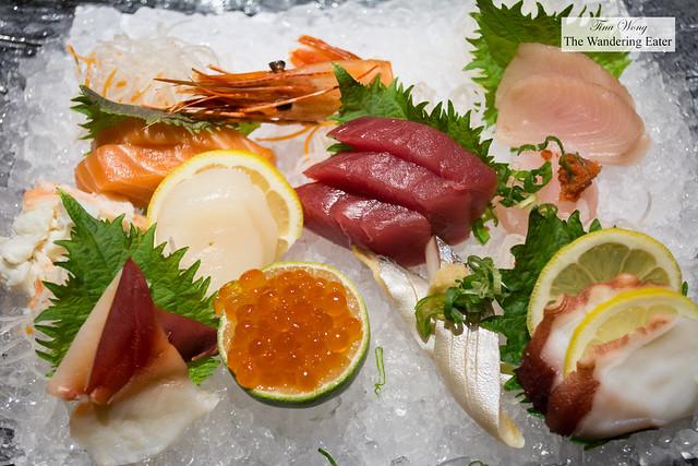 Sashimi platter - Salmon, tuna, octopus, snow crab, mackerel, yellowfin, ikura