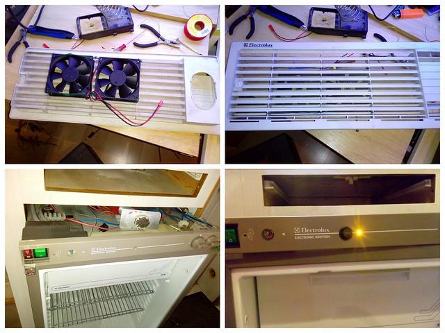 fabrication d'un système de refroidissement forcée du frigo (ventilo PC avec contacteur thermostatique)
