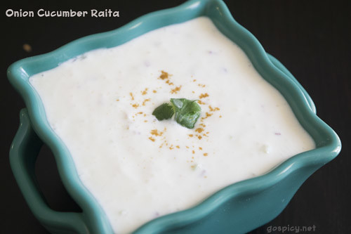 Onion Cucumber Raita Recipe by GoSpicy.net