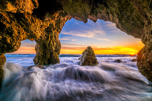 Malibu Beach Sunset! Sony A7R2 Red Orange Clouds Sea Cave Landscapes! High Resolution California Sunset Photos! Socal Stormy Skies El Matador Beach Sunset! Dr. Elliot McGucken High Res Fine Art Landscape & Nature Photography Scenic California Sunsets!
