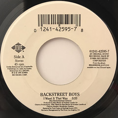 BACKSTREET BOYS:I WANT IT THAT WAY(LABEL SIDE-A)