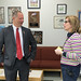 State Representative Craig Fishbein talks with Wallingford's Mary Fritz Elementary School principal Mary Poisson after attending an event at the school.